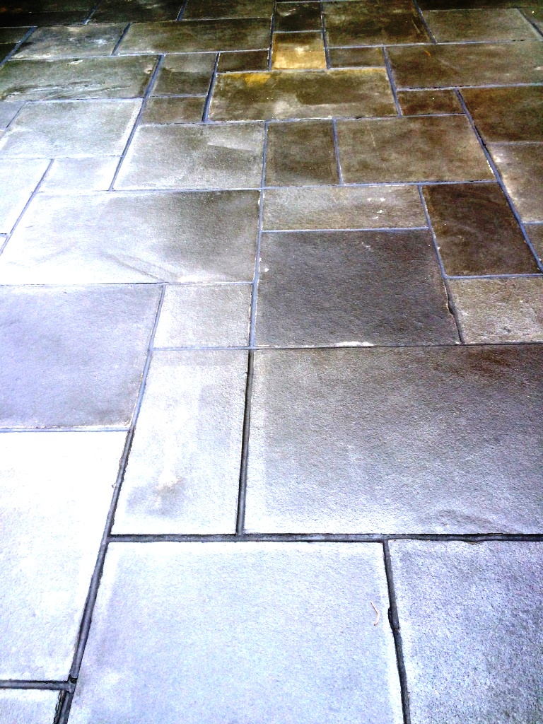 Limestone patio after renovation in Ipswich