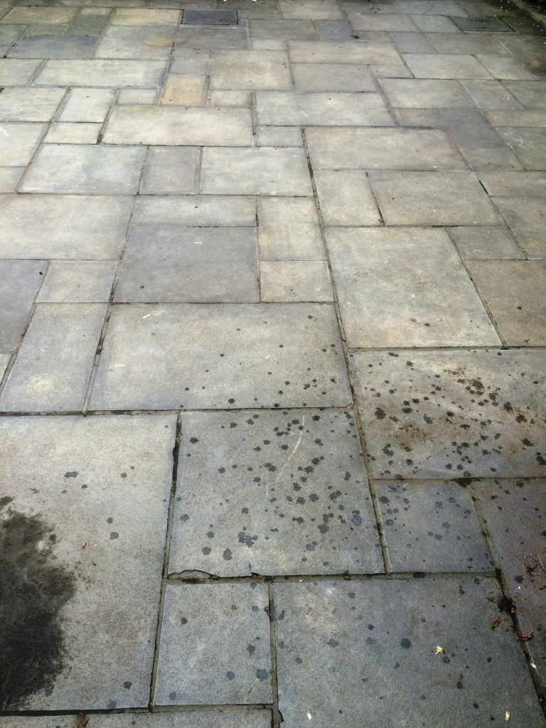 Limestone patio before renovation in Ipswich