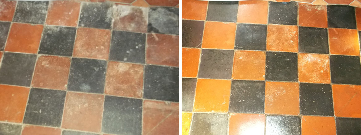 Diamond Laid Quary Tile Floor Restoration