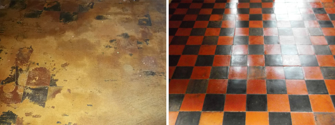 Quarry tiled floor restoration in Ipswich