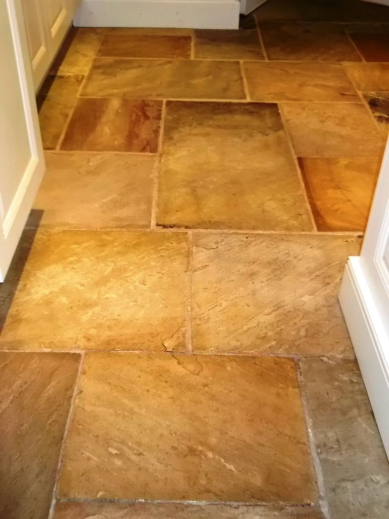 Sandstone floor after cleaning and sealing