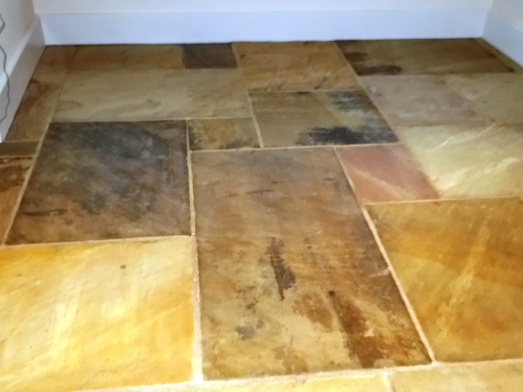 sandstone floor tiles. Sandstone Floor After Cleaning And Sealing Tiles