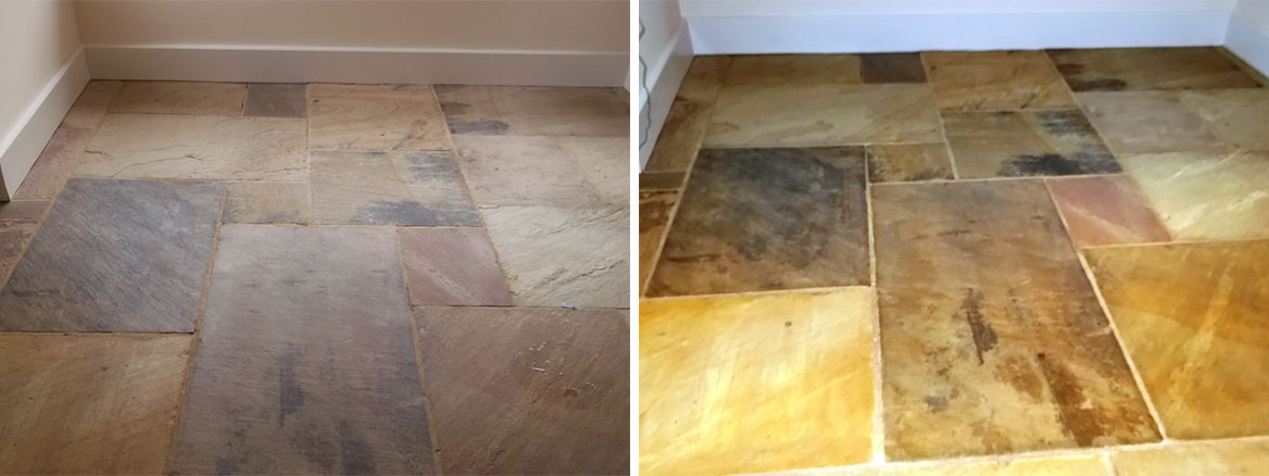 Sandstone floor before after sealing