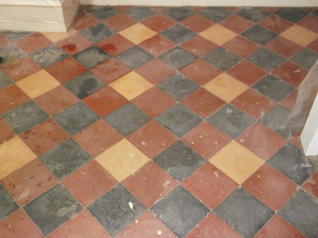 Victorian quarry tiled floor restoration suffolk tile doctor victorian floor before cleaning doublecrazyfo Gallery