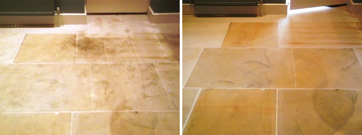 Cleaning Burford Limestone Tiles in Rendham, Suffolk