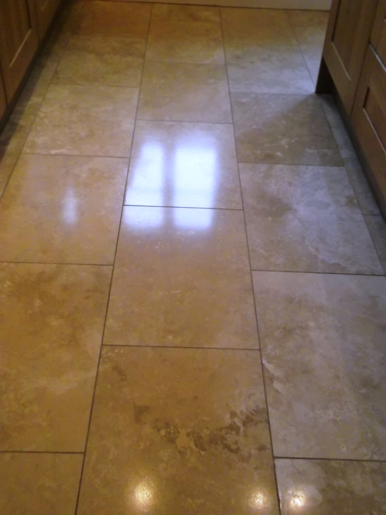 Restoring the shine on a travertine floor tiles in haughley travertine tiled floor after dailygadgetfo Gallery