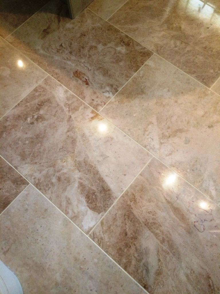 Polished marble floor tiles