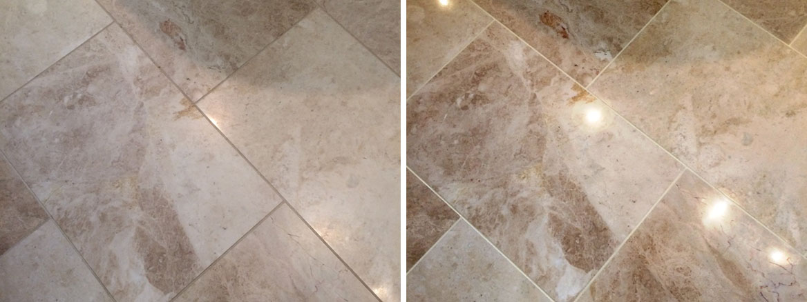 Cleaning, Polishing and Sealing a Marble floor and Wall Tiles in Elmswell