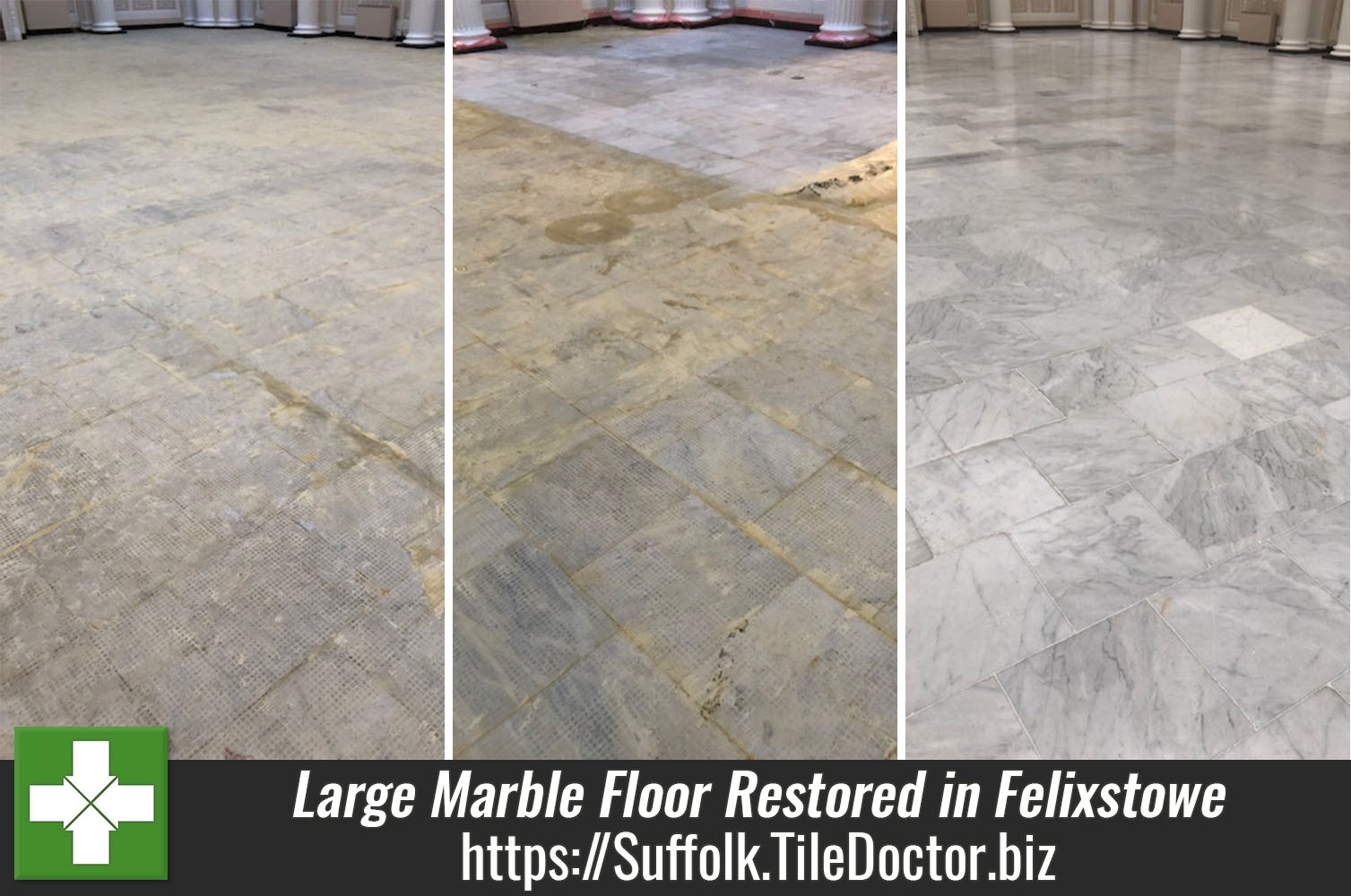 Large Marble Tiled Floor Before and After Restoration Felixstowe