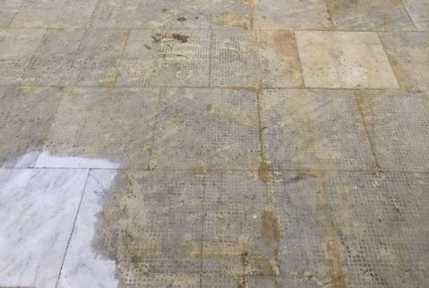 Marble Floor Before Renovation Palm Court Harvest House Felixstowe - TestClean