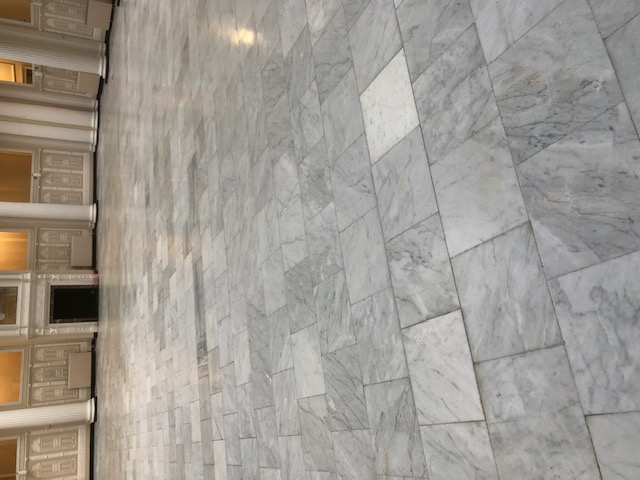Marble Floor During Burnishing 800-grit Palm Court Harvest House Felixstowe