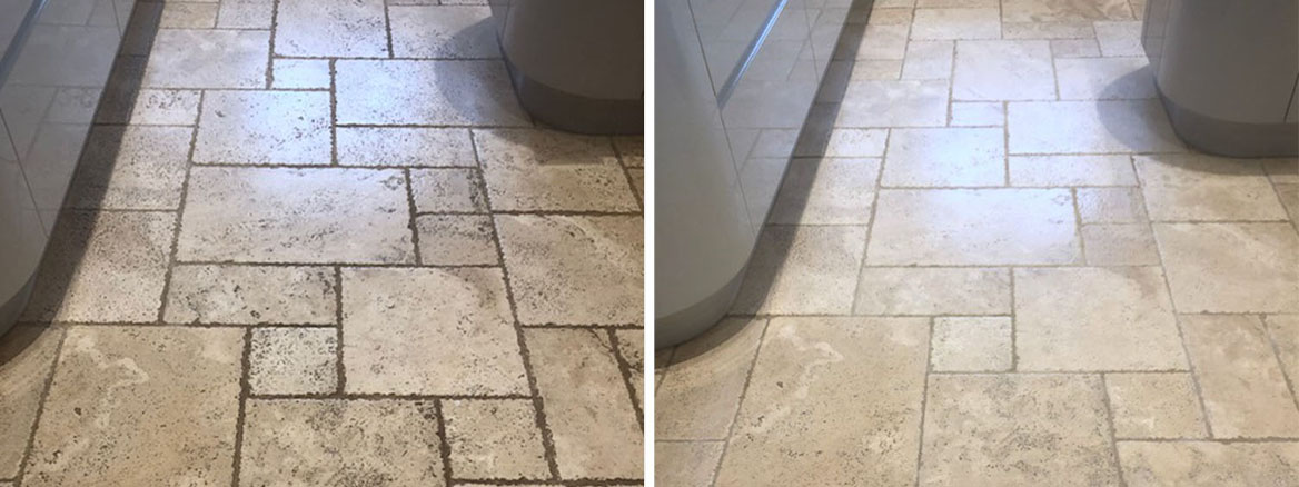 Gruby Travertine Kitchen Floor Renovated in Thurston